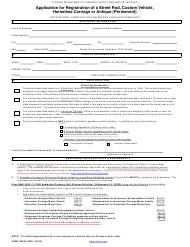 "Form HSMV83045 ""Application for Registration of a Street Rod, Custom Vehicle, Horseless Carriage or Antique (Permanent)"" - Florida"