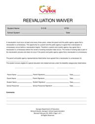 """Reevaluation Waiver"" - Georgia (United States)"