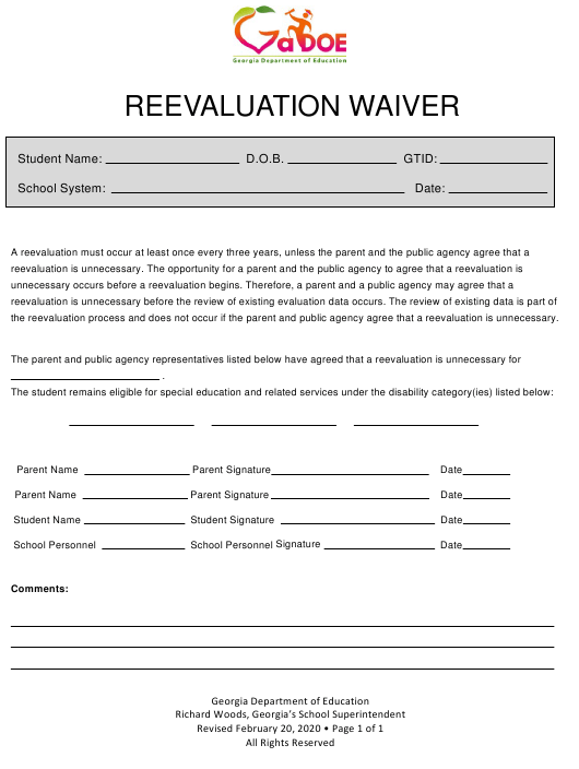 """""""Reevaluation Waiver"""" - Georgia (United States) Download Pdf"""