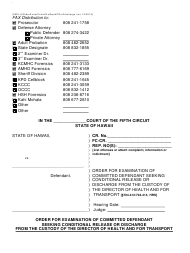 "Form KMH-8 ""Order for Examination of Committed Defendant Seeking Conditional Release or Discharge From the Custody of the Director of Health and for Transport"" - Hawaii"