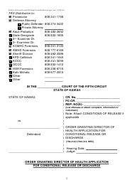 "Form KMH-9 ""Order Granting Director of Health Application for Conditional Release or Discharge"" - Hawaii"