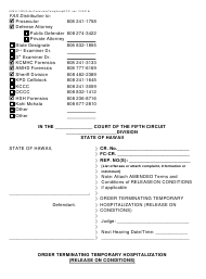 "Form KMH-12D ""Order Terminating Temporary Hospitalization (Release on Conditions)"" - Hawaii"