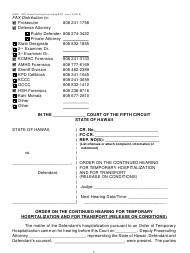 "Form KMH-12B ""Order on the Continued Hearing for Temporary Hospitalization and for Transport (Release on Conditions)"" - Hawaii"