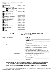 "Form KMH-11A ""Probation Officer's Findings of Non-compliance and Order of Temporary Hospitalization and Transport of Defendant 704-406(1) and (2)"" - Hawaii"