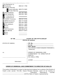 "Form KMH-19A ""Order of Dismissal and Commitment to Director of Health"" - Hawaii"
