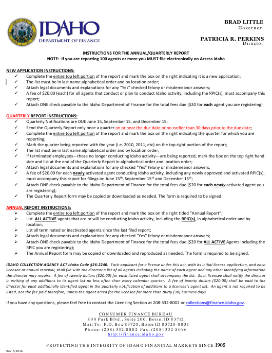 """""""Collection Agency Quarterly Notification of Agents Form"""" - Idaho Download Pdf"""