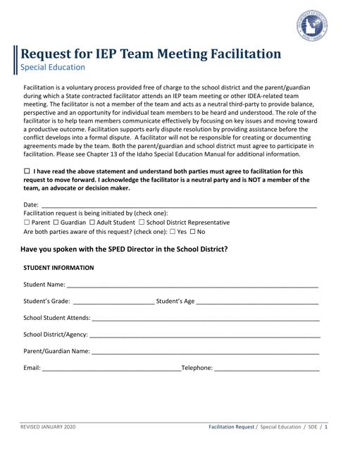 """Request for Iep Team Meeting Facilitation"" - Idaho Download Pdf"