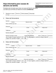 """Formulario CAO FL1-1 """"Hoja Informativa Para Causas De Derecho De Familia"""" - Idaho (Spanish)"""