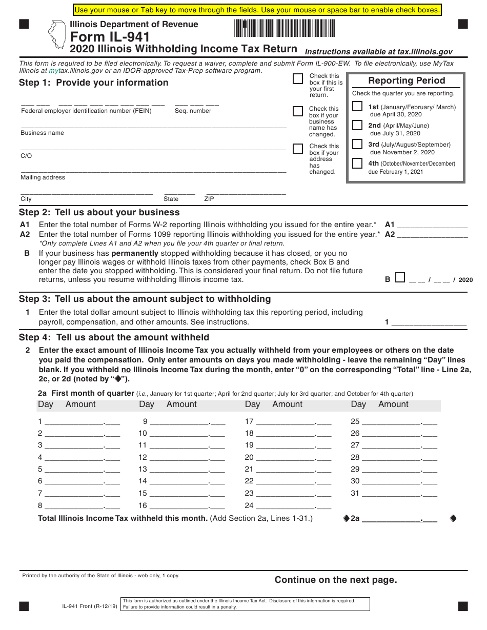Form Il 941 Download Fillable Pdf Or Fill Online Illinois Withholding Income Tax Return 2020 Illinois Templateroller