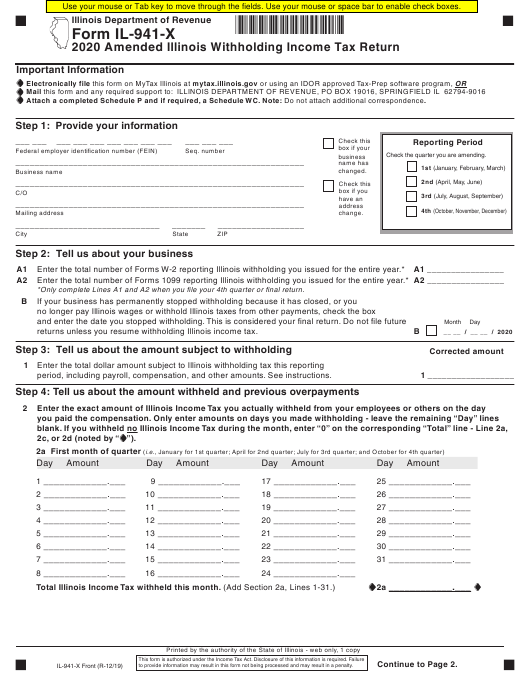 Form Il 941 X Download Fillable Pdf Or Fill Online Amended Illinois Withholding Income Tax Return 2020 Illinois Templateroller
