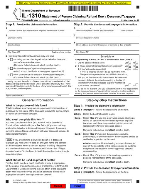 Form IL-1310  Printable Pdf