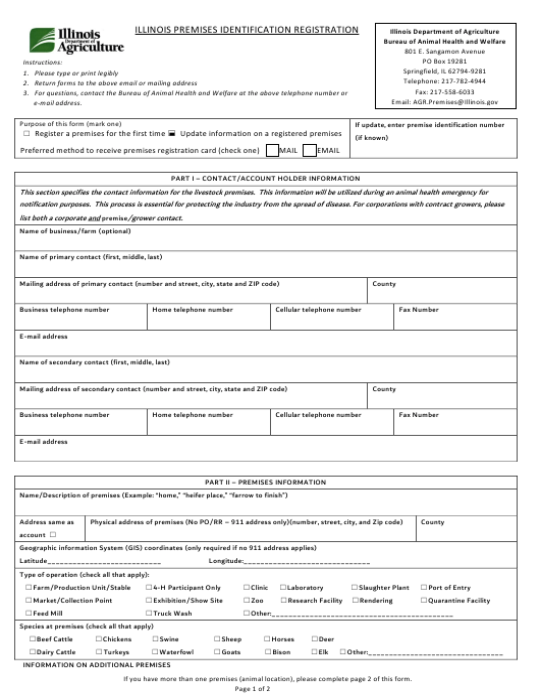 """Illinois Premises Identification Registration"" - Illinois Download Pdf"