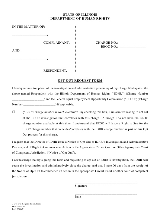 """""""Opt out Request Form"""" - Illinois Download Pdf"""