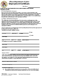"Form IL452FL04 ""Employment Certificate"" - Illinois"