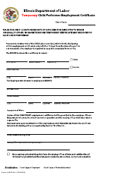 "Form IL452FL04 ""Temporary Child Performer Employment Certificate"" - Illinois"