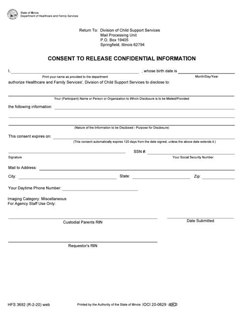 Form HFS3692  Printable Pdf