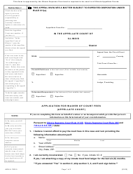 """Form AWA-A1303.5 """"Application for Waiver of Court Fees (Appellate Court)"""" - Illinois"""