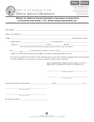 "Form DSD SR89 ""Affidavit for Refund of Security Deposited or Termination of Surety Bond in Accordance With Section 7-214, Illinois Safety Responsibility Law"" - Illinois"