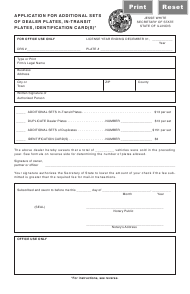 "Form RT DS43 ""Application for Additional Sets of Dealer Plates, in-Transit Plates, Identification Card(S)"" - Illinois"