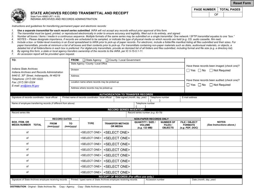 State Form 48883  Printable Pdf