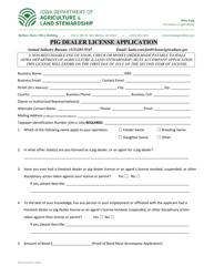 """Pig Dealer License Application"" - Iowa"