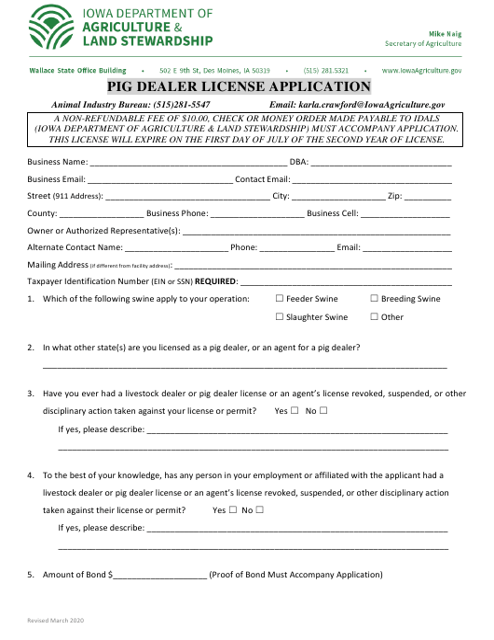 """Pig Dealer License Application"" - Iowa Download Pdf"