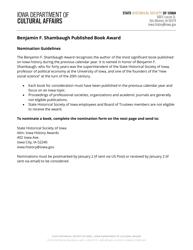 """Benjamin F. Shambaugh Published Book Award Nomination Form"" - Iowa"
