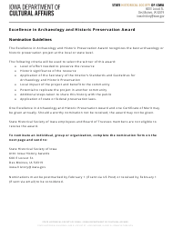 """Excellence in Archaeology and Historic Preservation Award Nomination Form"" - Iowa"