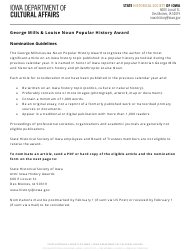 """George Mills & Louise Noun Popular History Award Nomination Form"" - Iowa"