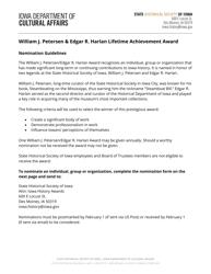 """""""William J. Petersen & Edgar R. Harlan Lifetime Achievement Award Nomination Form"""" - Iowa"""
