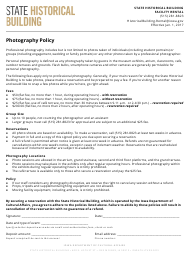 """State Historical Building Professional Photography Policy"" - Iowa"