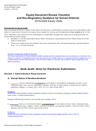 """""""Equity Document Review Checklist and Non-regulatory Guidance for School Districts"""" - Iowa"""