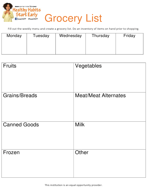 """Grocery List"" - Iowa Download Pdf"