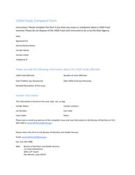 """Usda Foods Complaint Form"" - Iowa"