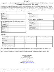 """Form C-1 """"Progress Form for Students Age 7-15 (Inclusive) for Whom Form a Was Filed Under Cpi Option 2 (Dual Enrolled)"""" - Iowa"""