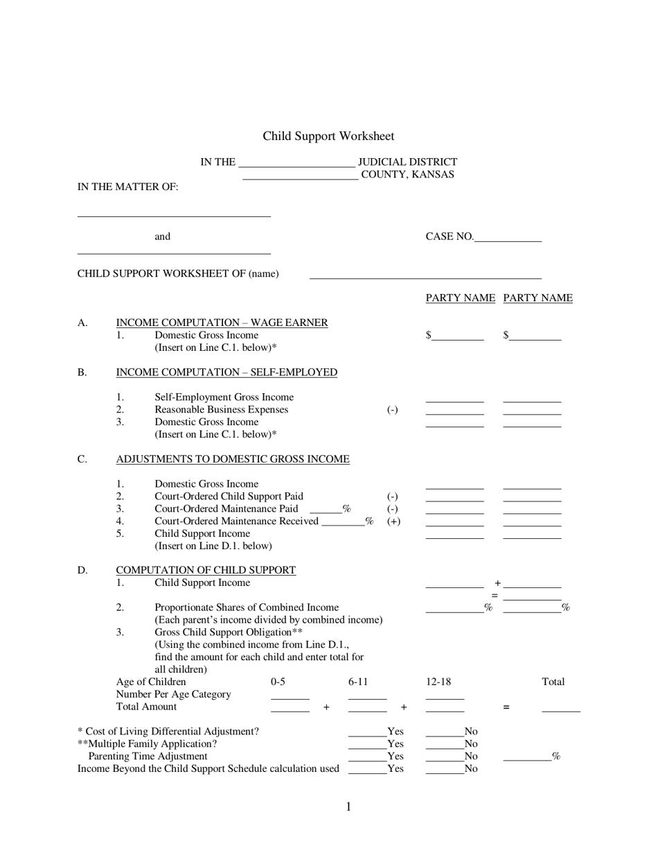 Kansas Child Support Worksheet Download Fillable PDF ...