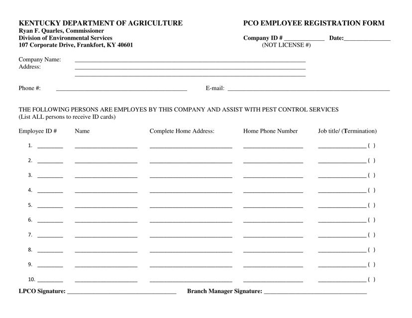 """Pco Employee Registration Form"" - Kentucky Download Pdf"