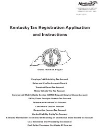 """Form 10A100 """"Kentucky Tax Registration Application"""" - Kentucky"""