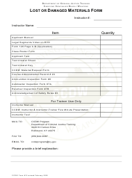 """CCDW Form 10 """"Lost or Damaged Materials Form"""" - Kentucky"""