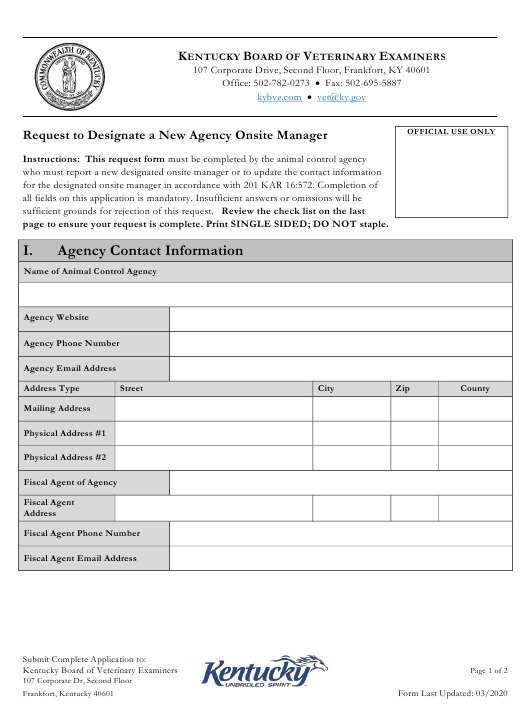 """""""Request to Designate a New Agency Onsite Manager"""" - Kentucky Download Pdf"""