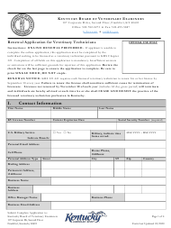 """Renewal Application for Veterinary Technicians"" - Kentucky"
