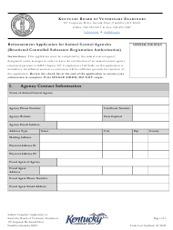 """Reinstatement Application for Animal Control Agencies (Restricted Controlled Substance Registration Authorization)"" - Kentucky"