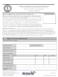 """Renewal Application for Animal Control Agencies (Restricted Controlled Substance Registration Authorization)"" - Kentucky"