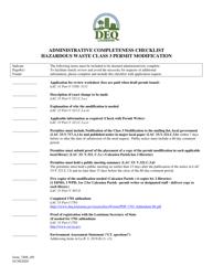 "Form 7408 ""Administrative Completeness Checklist - Hazardous Waste Class 3 Permit Modification"" - Louisiana"