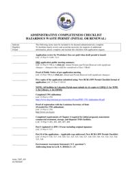 "Form 7407 ""Administrative Completeness Checklist - Hazardous Waste Permit (Initial or Renewal)"" - Louisiana"