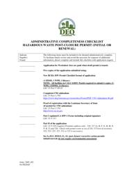 "Form 7405 ""Administrative Completeness Checklist - Hazardous Waste Post-closure Permit (Initial or Renewal)"" - Louisiana"