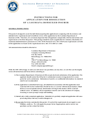 """Application for Dissolution of a Louisiana Domiciled Insurer"" - Louisiana"
