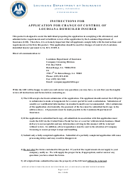 """Application for Change of Control of a Louisiana Domiciled Insurer"" - Louisiana"