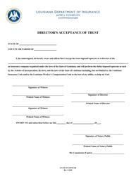"""Director's Acceptance of Trust"" - Louisiana"