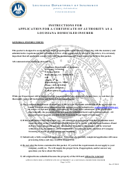 """Application for a Certificate of Authority as a Louisiana Domiciled Insurer"" - Louisiana"